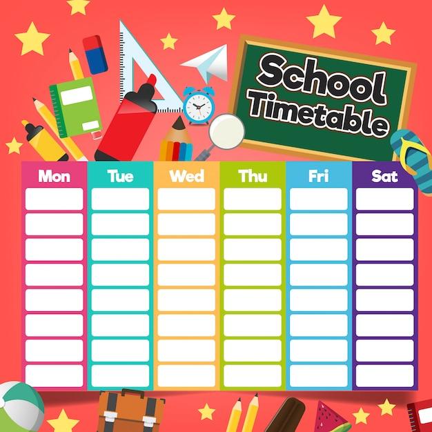 Modèle de calendrier scolaire Vecteur Premium