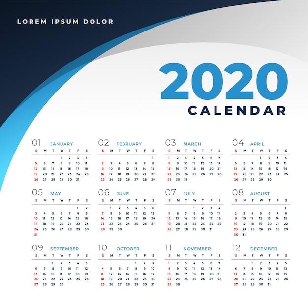 Modèle de calendrier simple style d'affaires 2020 Vecteur gratuit