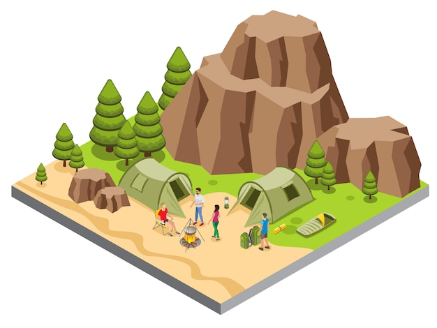 Modèle De Camping De Montagne Isométrique Avec Des Touristes Nourriture Tentes De Cuisine Tapis Sac De Couchage Lanterne Arbres Vecteur gratuit