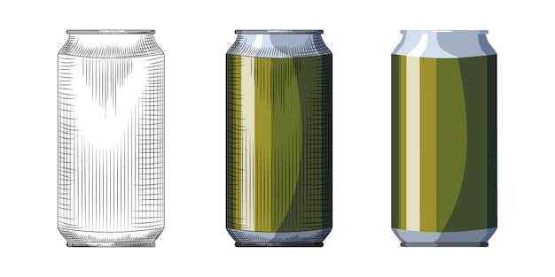 Modèle De Canette De Bière Dessiné à La Main. Boisson Verte Peut Isolé Sur Fond Blanc. Vecteur Premium