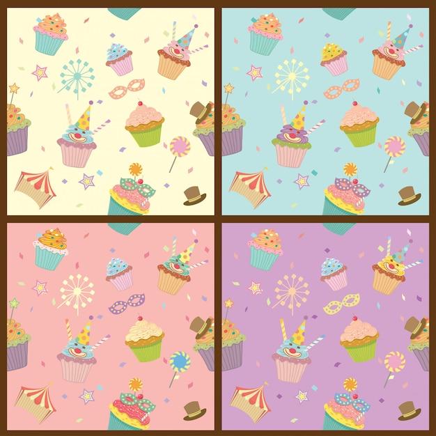 Modèle de carnaval de petits gâteaux Vecteur Premium