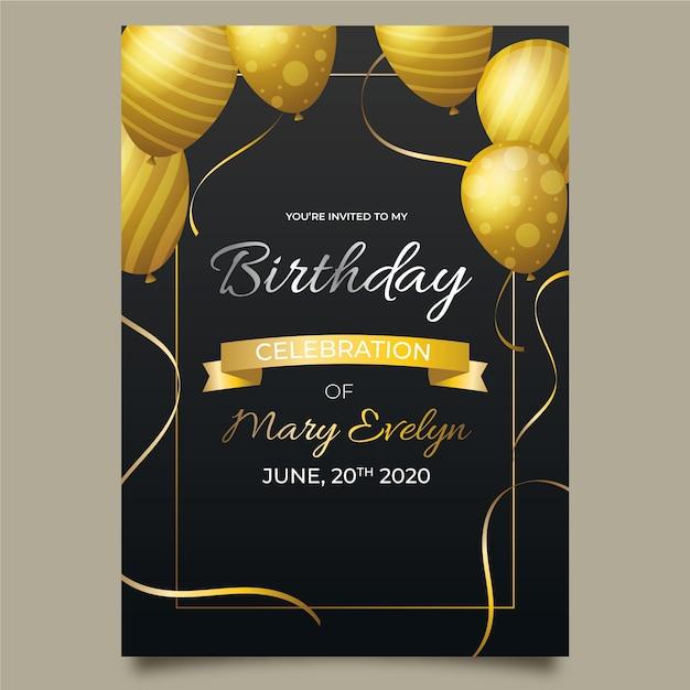 Modèle De Carte D'anniversaire élégant Avec Des Ballons Réalistes Vecteur Premium