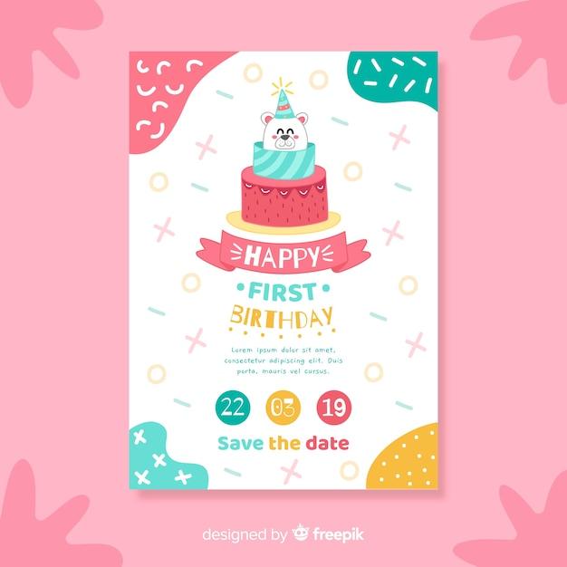 Modèle de carte d'anniversaire gâteau ours Vecteur gratuit