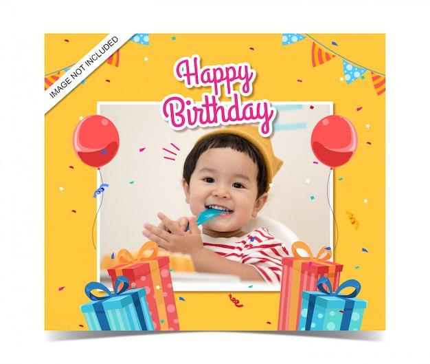 Modèle De Carte D'anniversaire Pour Enfants Avec Photo Vecteur Premium