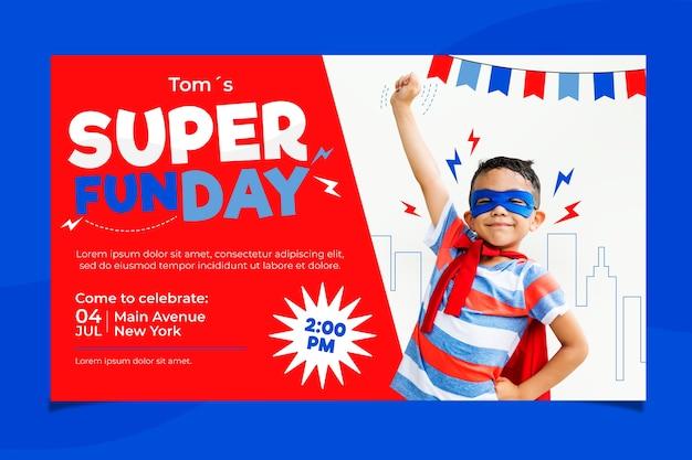 Modèle De Carte D'anniversaire Pour Enfants Avec Super Fun Vecteur gratuit