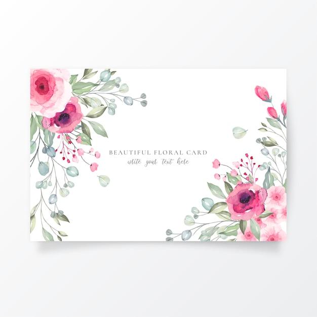 Modèle de carte aquarelle avec de belles fleurs Vecteur gratuit