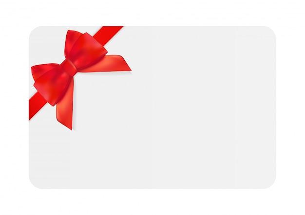 Modèle De Carte Cadeau Vierge Avec Un Arc Et Un Ruban Rouge