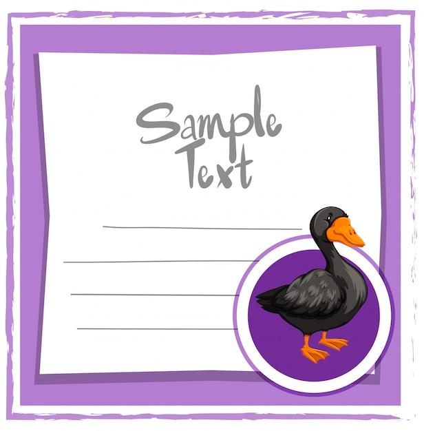Modèle de carte avec canard noir Vecteur gratuit
