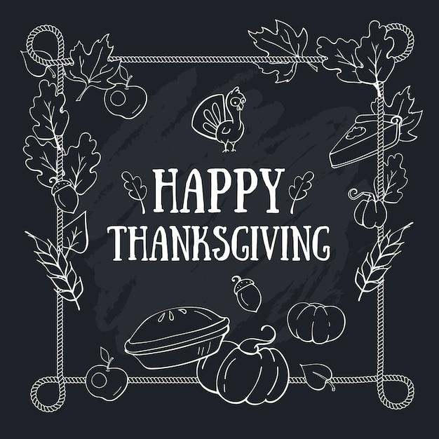 Modèle De Carte De Composition De Voeux Automne Thanksgiving Avec Inscription Sur Cadre Tableau Noir Et Corde Vecteur Premium