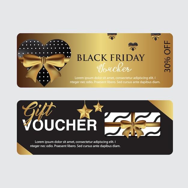Modèle de carte de coupon du vendredi noir Vecteur Premium