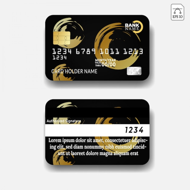 Modèle de carte de crédit avec dessin abstrait Vecteur Premium