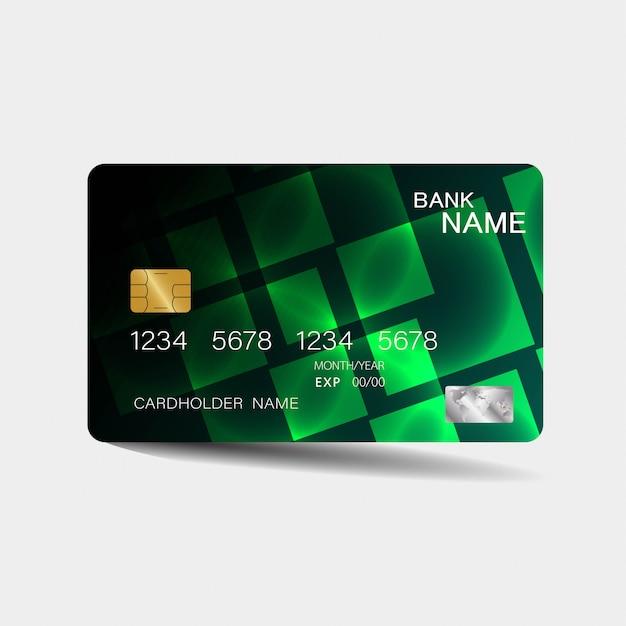 Modèle de carte de crédit avec des éléments verts Vecteur Premium