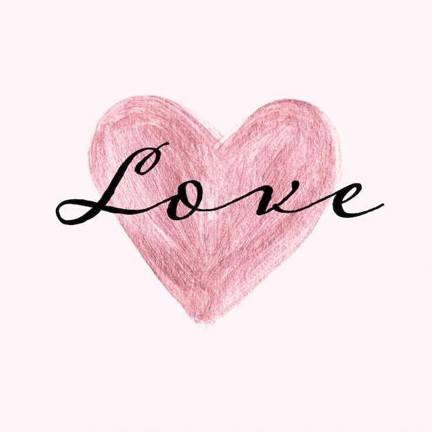 Modèle de carte douce avec coeur peint en or rose à la main et texte d'amour Vecteur Premium