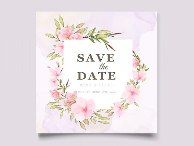 Modèle De Carte élégant Aquarelle Fleur De Cerisier Vecteur gratuit