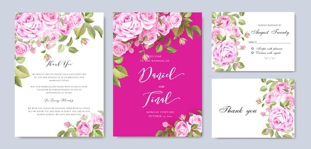 Modèle de carte élégant mariage floral et invitation Vecteur Premium
