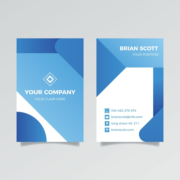 Modèle De Carte D'entreprise Bleu Classique Vertical Vecteur gratuit