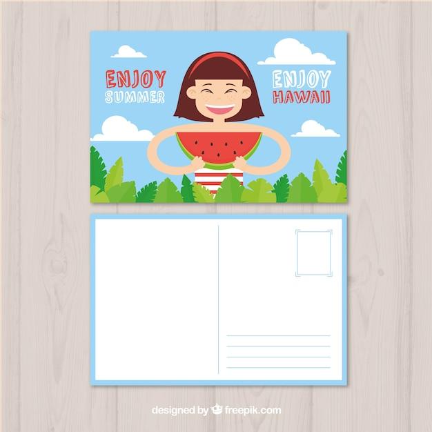 Modèle de carte d'été dessinés à la main avec femme mangeant la pastèque Vecteur gratuit
