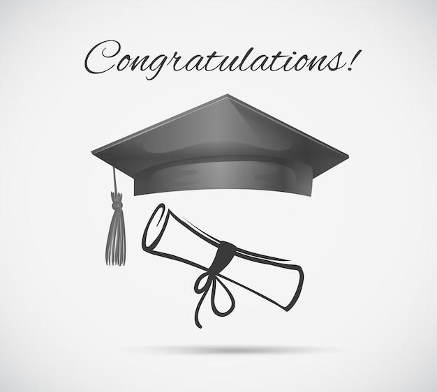 Modèle De Carte De Félicitations Avec Casquette De Graduation Vecteur gratuit