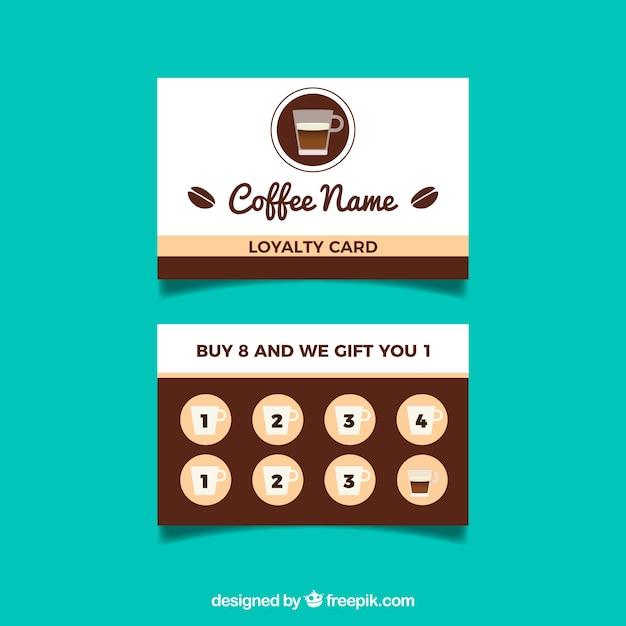 Modèle de carte de fidélité café avec un design plat Vecteur gratuit