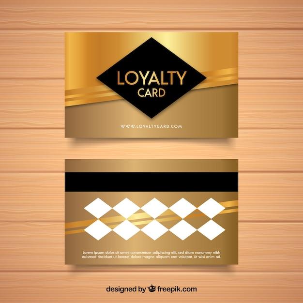 Modèle de carte de fidélité élégant avec un design doré Vecteur gratuit