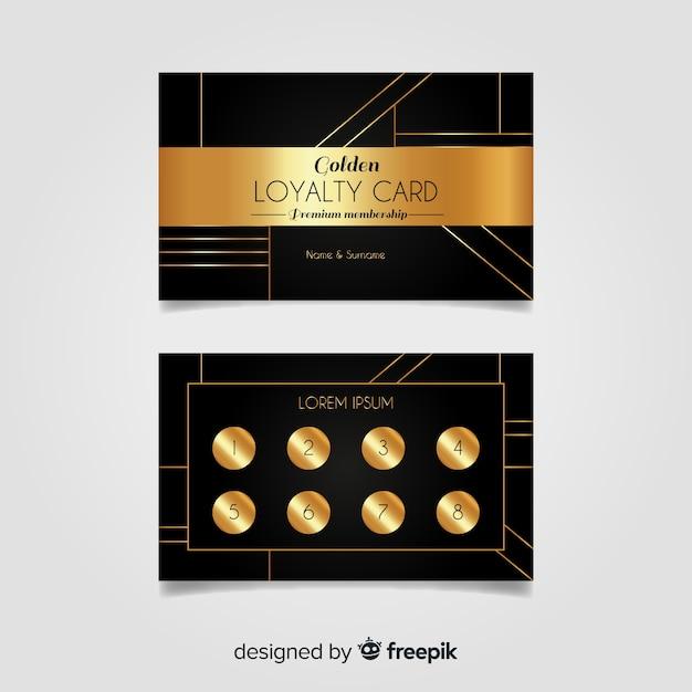 Modèle de carte de fidélité élégant avec style doré Vecteur gratuit