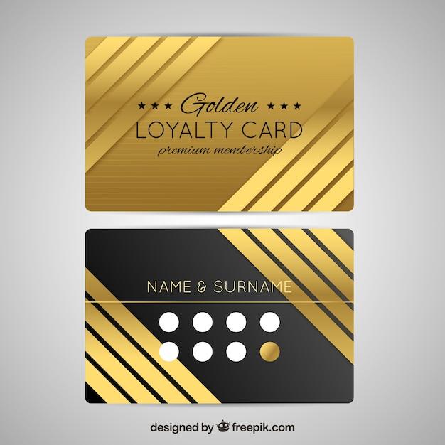 Modèle de carte de fidélité élégant avec un style d'or Vecteur gratuit