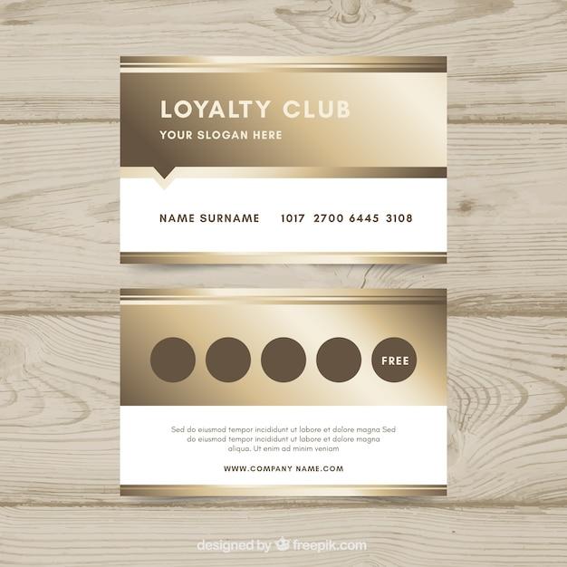 Modèle de carte de fidélité de luxe avec un style or Vecteur gratuit