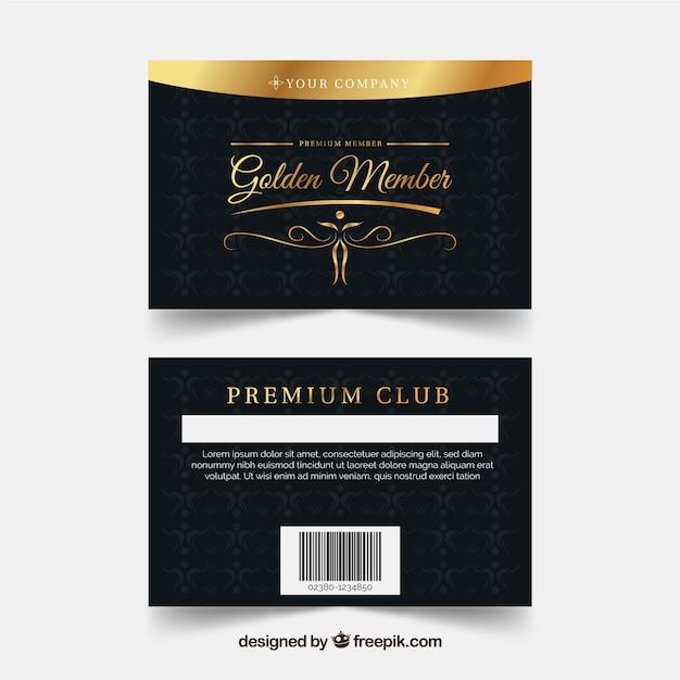 Modèle de carte de fidélité avec style doré Vecteur gratuit