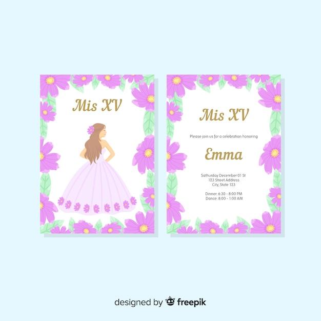 Modèle de carte de fleur princesse quinceanera Vecteur gratuit