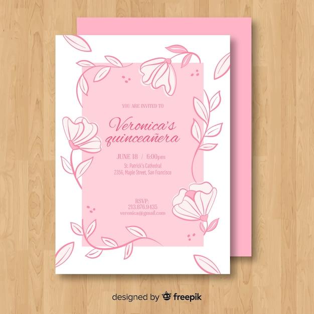Modèle de carte florale de vigne quinceanera Vecteur gratuit