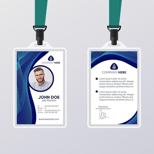 Modèle De Carte D'identité Abstraite Bleu Foncé Vecteur gratuit