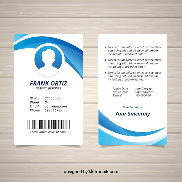 Modèle de carte d'identité abstraite avec un design plat Vecteur gratuit