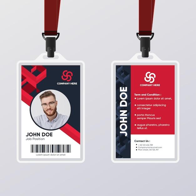 Modèle De Carte D'identité Abstraite Rouge Et Noir Vecteur gratuit