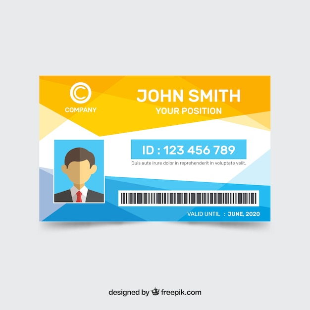 Modèle de carte d'identité abstraite avec style géométrique Vecteur gratuit