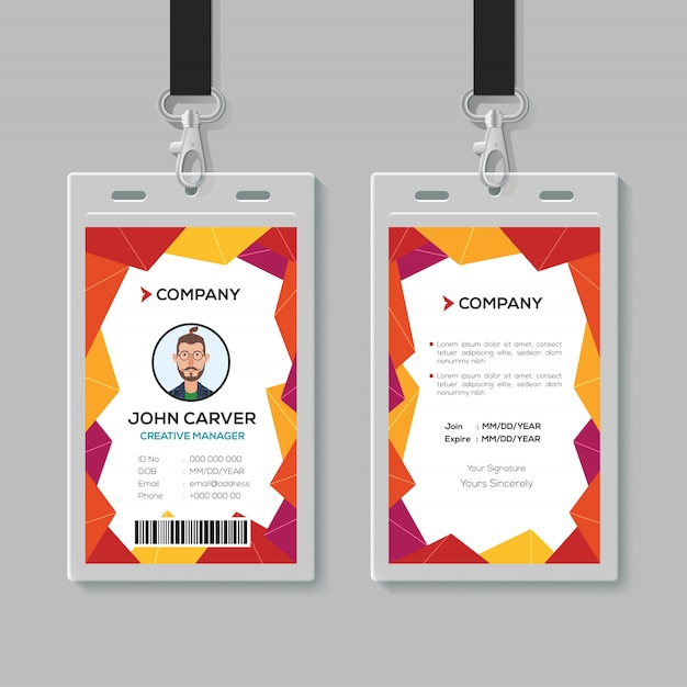 Modèle de carte d'identité de bureau créatif Vecteur Premium