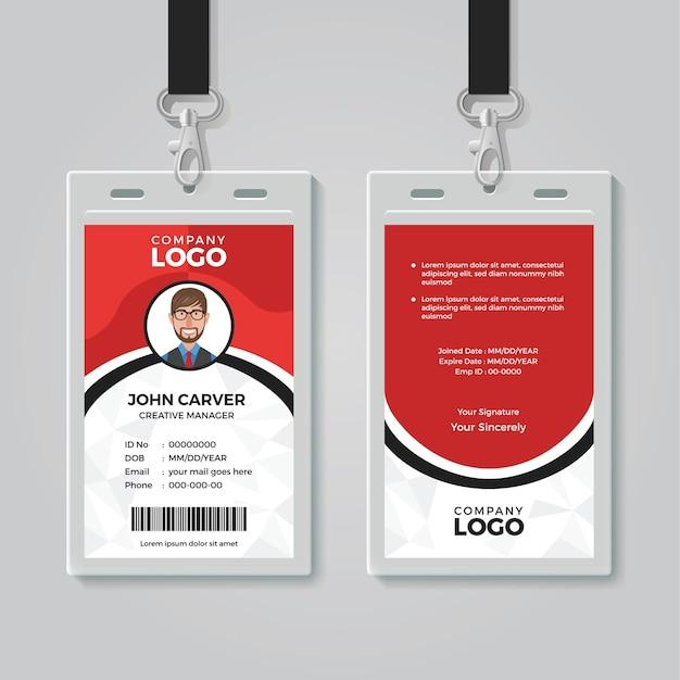 Modèle de carte d'identité de bureau rouge et blanc Vecteur Premium