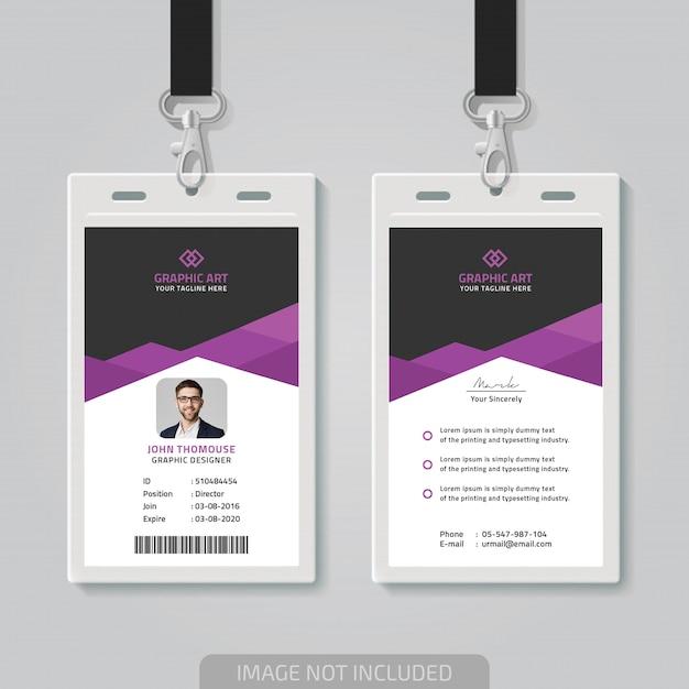 Modèle de carte d'identité de bureau simple Vecteur Premium
