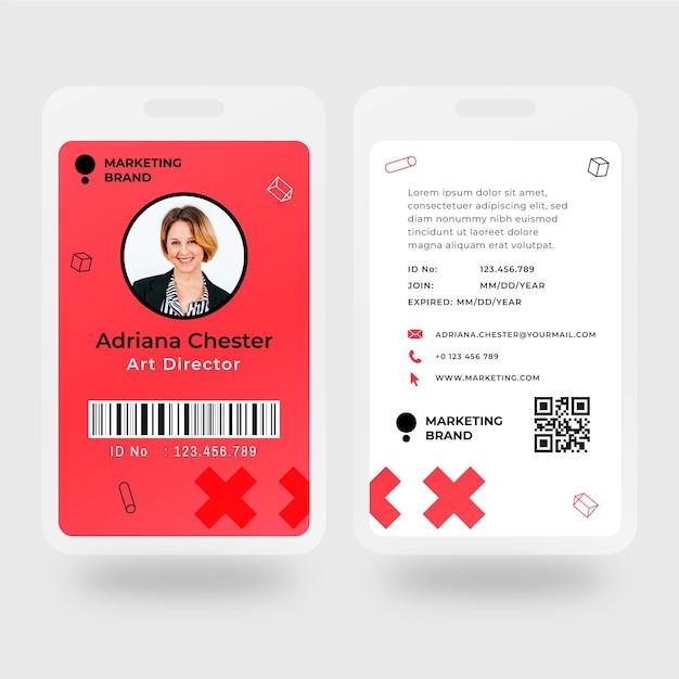 Modèle De Carte D'identité Commerciale Marketing Vecteur gratuit