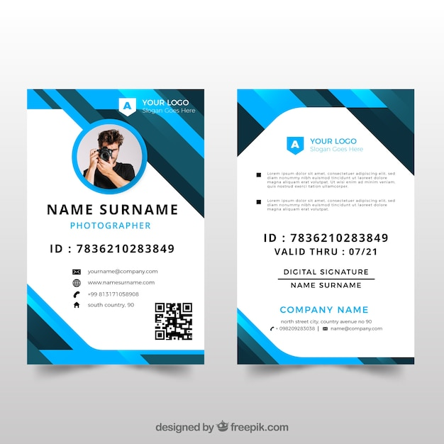 Modèle de carte d'identité avec un design plat Vecteur gratuit