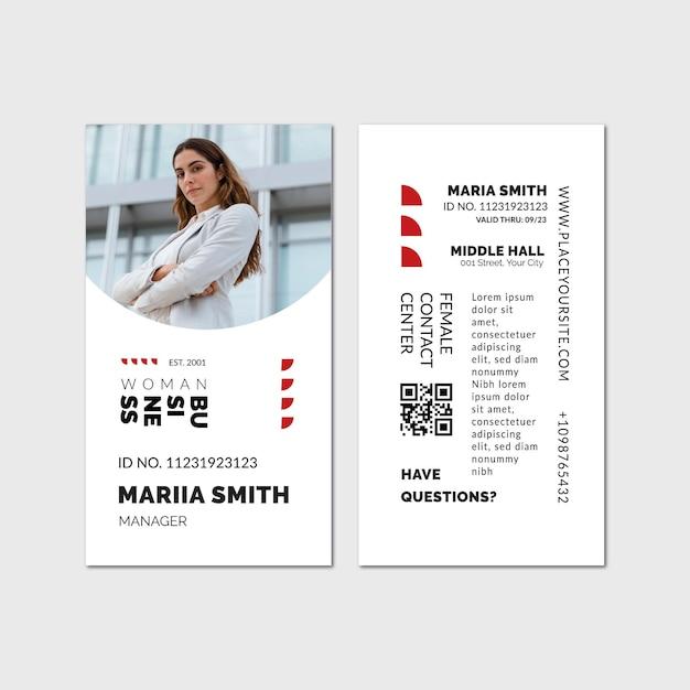 Modèle De Carte D'identité De Femme D'affaires Vecteur gratuit