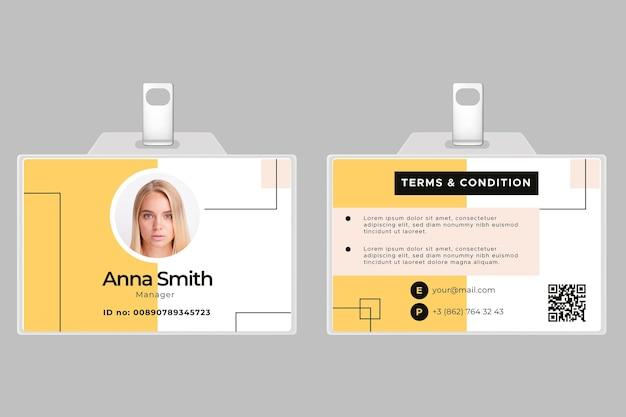 Modèle De Carte D'identité Horizontale Avant Et Arrière Vecteur gratuit