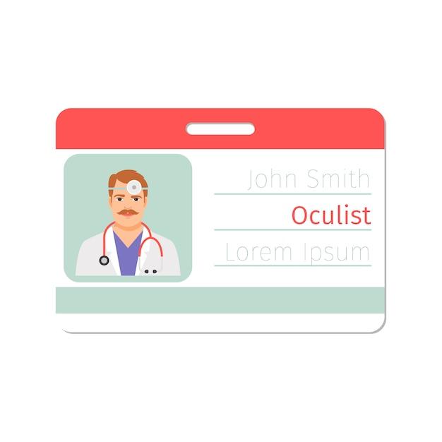 Modèle De Carte D'identité De Médecin Spécialiste En Soins Oculaires Vecteur Premium