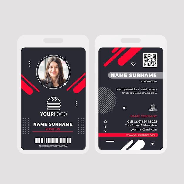 Modèle De Carte D'identité De Nourriture Américaine Vecteur gratuit