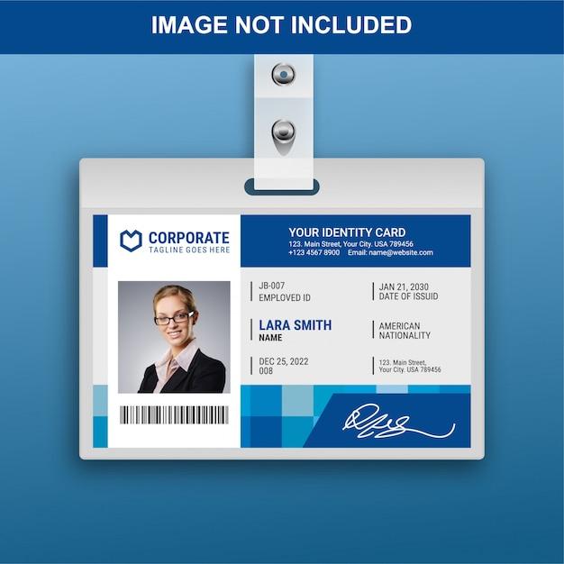 Modèle de carte d'identité plat Vecteur Premium
