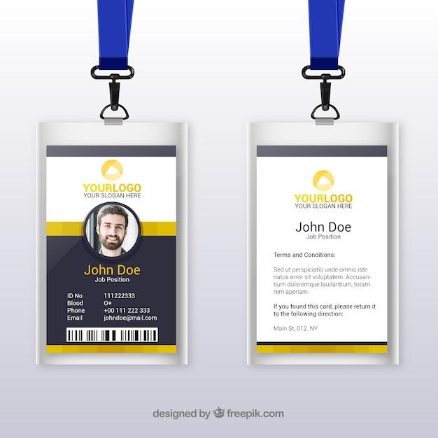 Modèle de carte d'identité plate avec fermoir et lanière Vecteur gratuit