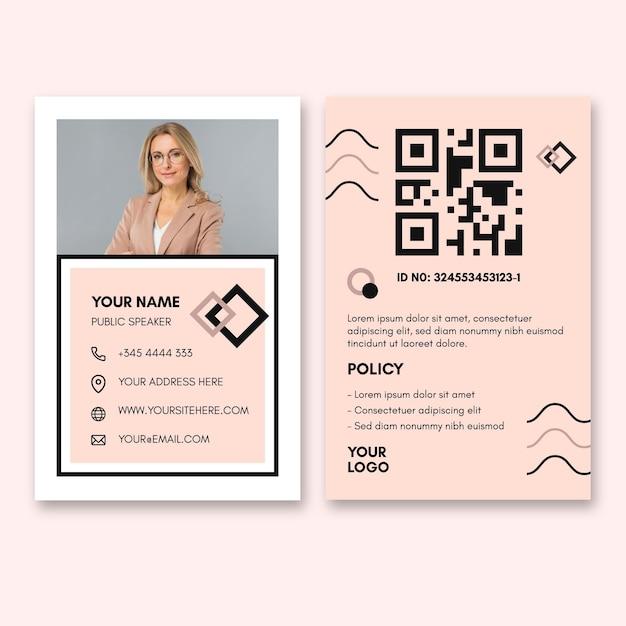 Modèle De Carte D'identité Pour Femme D'affaires Vecteur gratuit