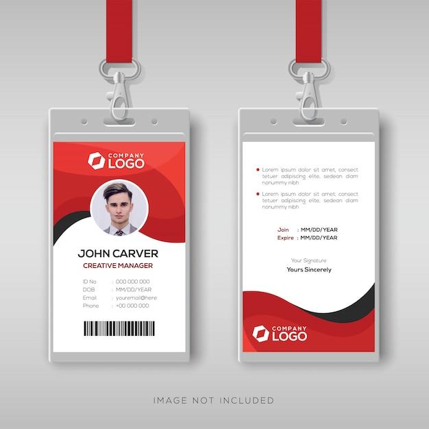 Modèle de carte d'identité professionnelle avec détails rouges Vecteur Premium