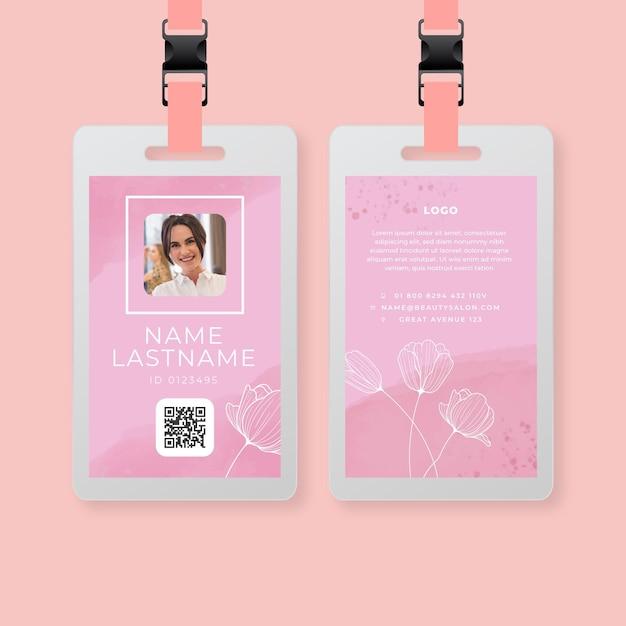 Modèle De Carte D'identité De Salon De Beauté Vecteur gratuit