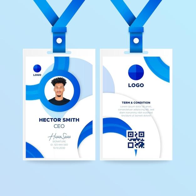 Modèle De Carte D'identité Verticale Bleue Vecteur gratuit