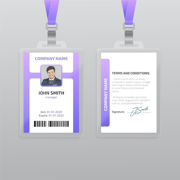 Modèle De Carte D'identité Verticale Avec Photo Vecteur gratuit